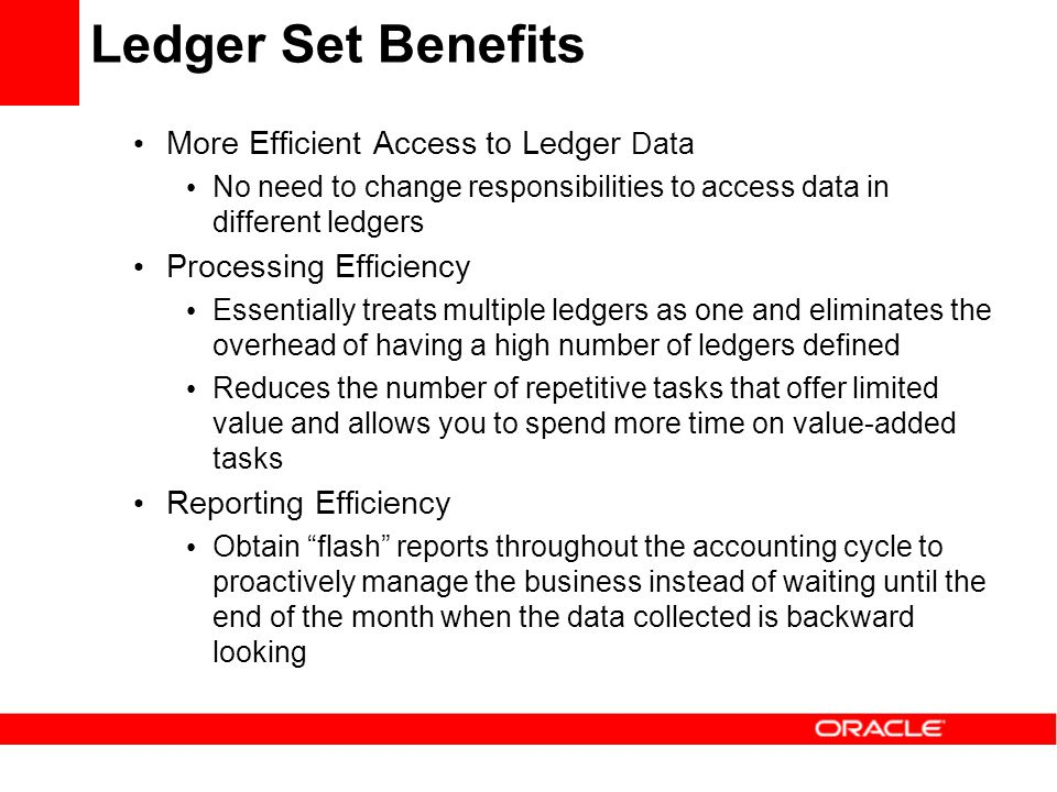 Ledger Set Benefits More Efficient Access to Ledger Data