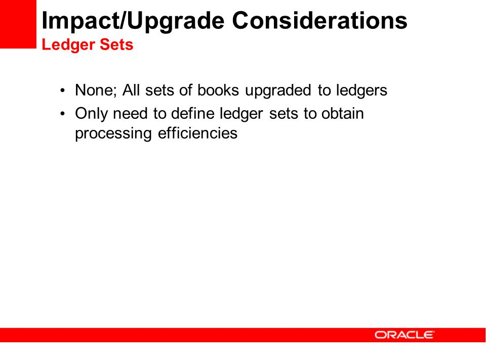 Impact/Upgrade Considerations Ledger Sets