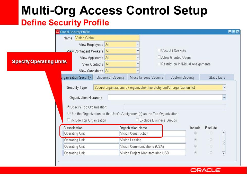 Multi-Org Access Control Setup Define Security Profile