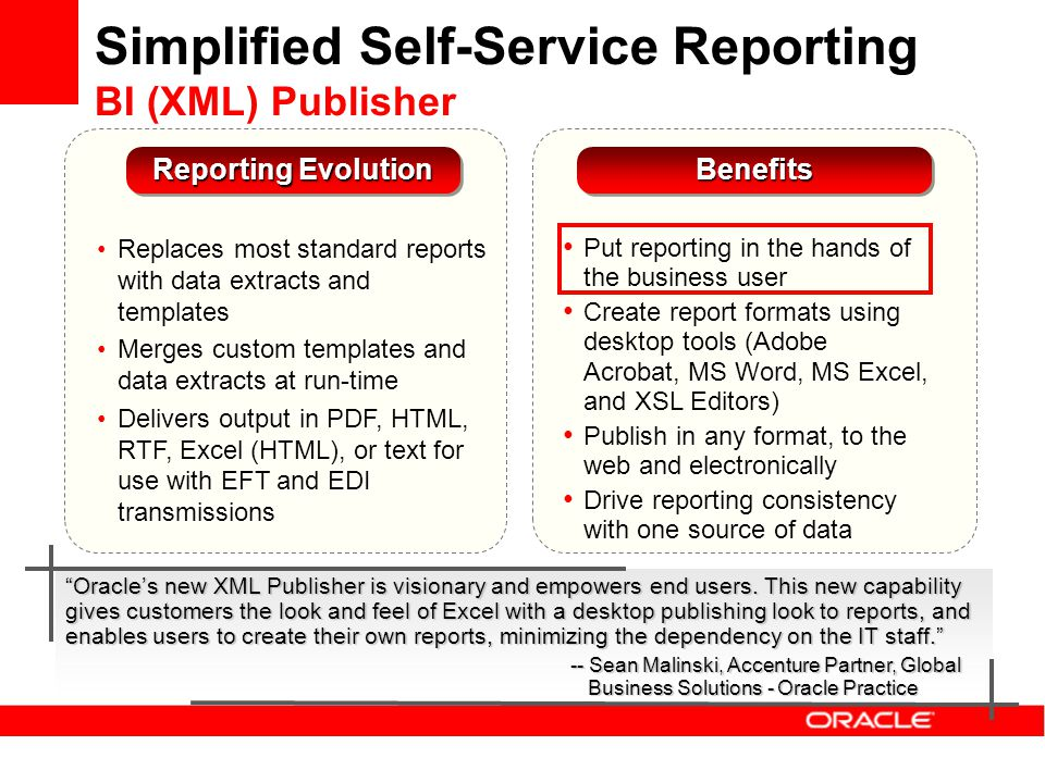 Simplified Self-Service Reporting BI (XML) Publisher