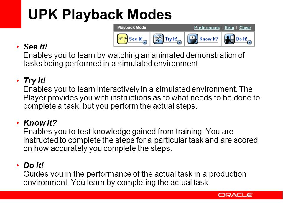 UPK Playback Modes See It!