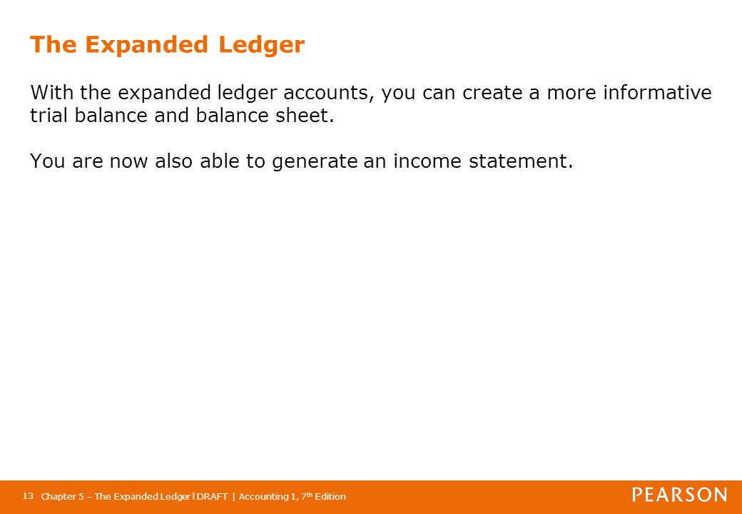The Expanded Ledger With the expanded ledger accounts, you can create a more informative trial balance and balance sheet. You are now also able to generate an income statement.