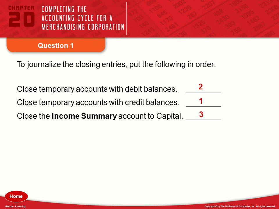 To journalize the closing entries, put the following in order: