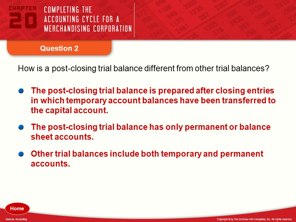 Other trial balances include both temporary and permanent accounts.