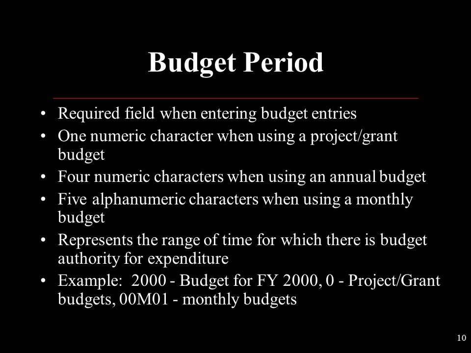 Budget Period Required field when entering budget entries