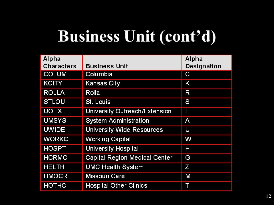 Business Unit (cont'd)