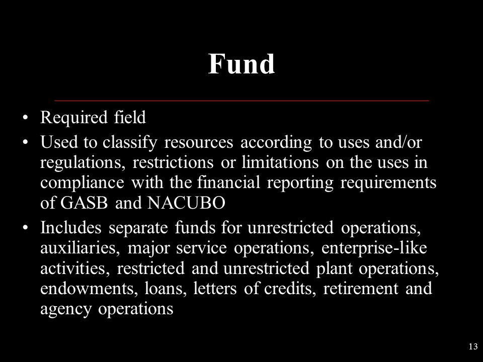 Fund Required field.