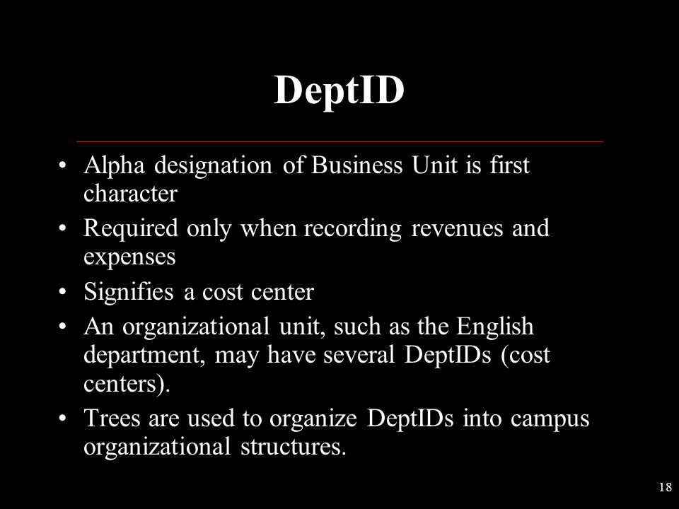 DeptID Alpha designation of Business Unit is first character