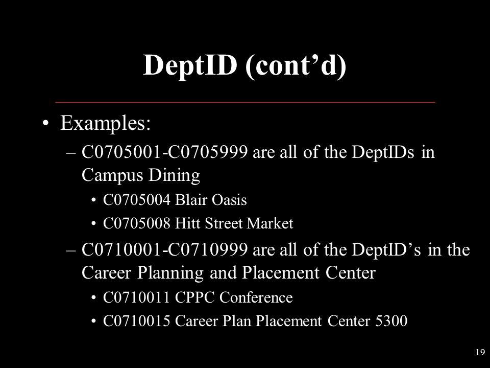 DeptID (cont'd) Examples: