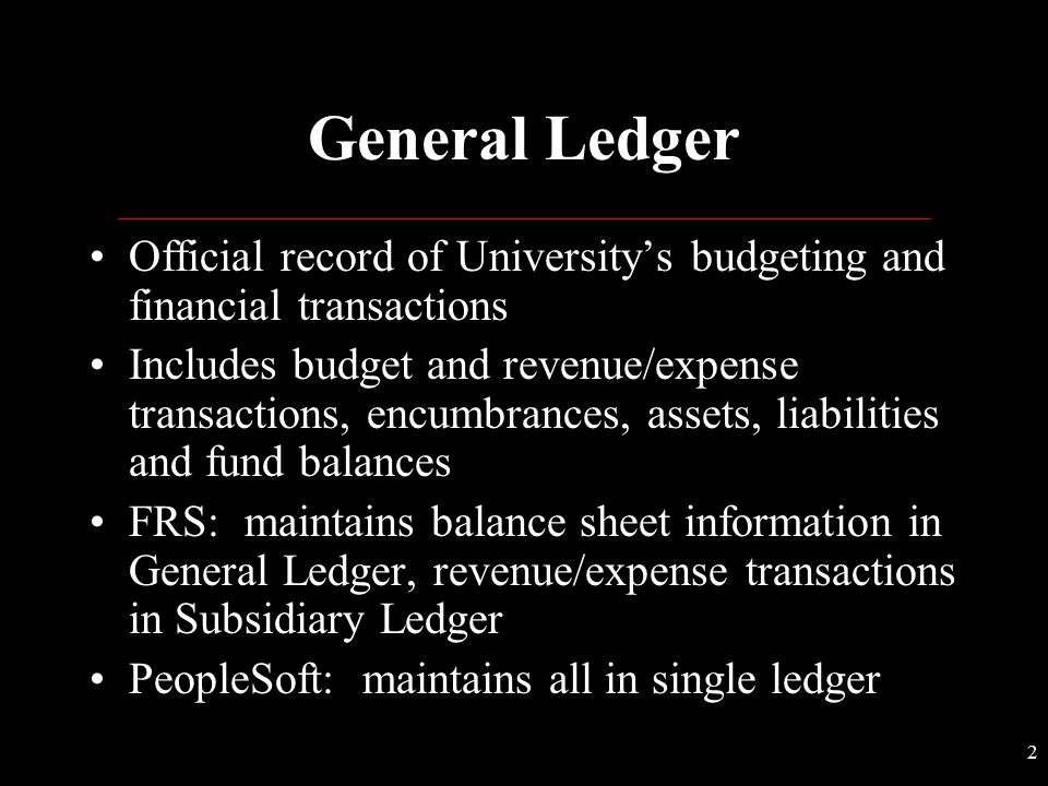General Ledger Official record of University's budgeting and financial transactions.