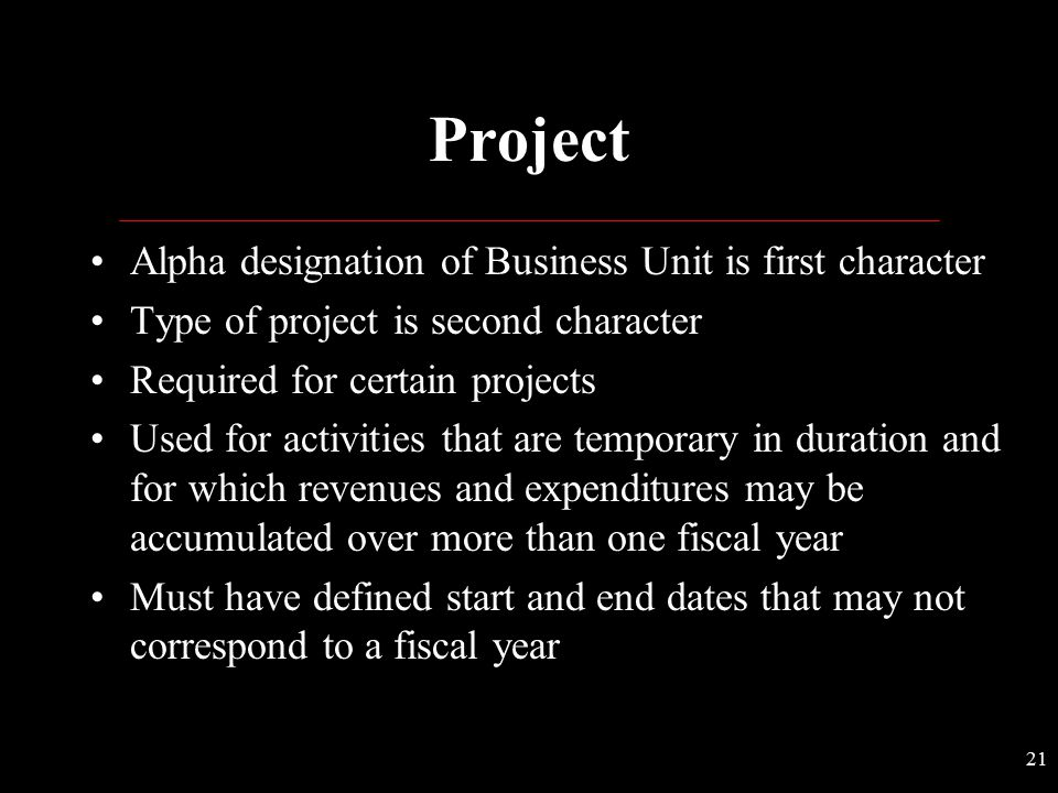 Project Alpha designation of Business Unit is first character
