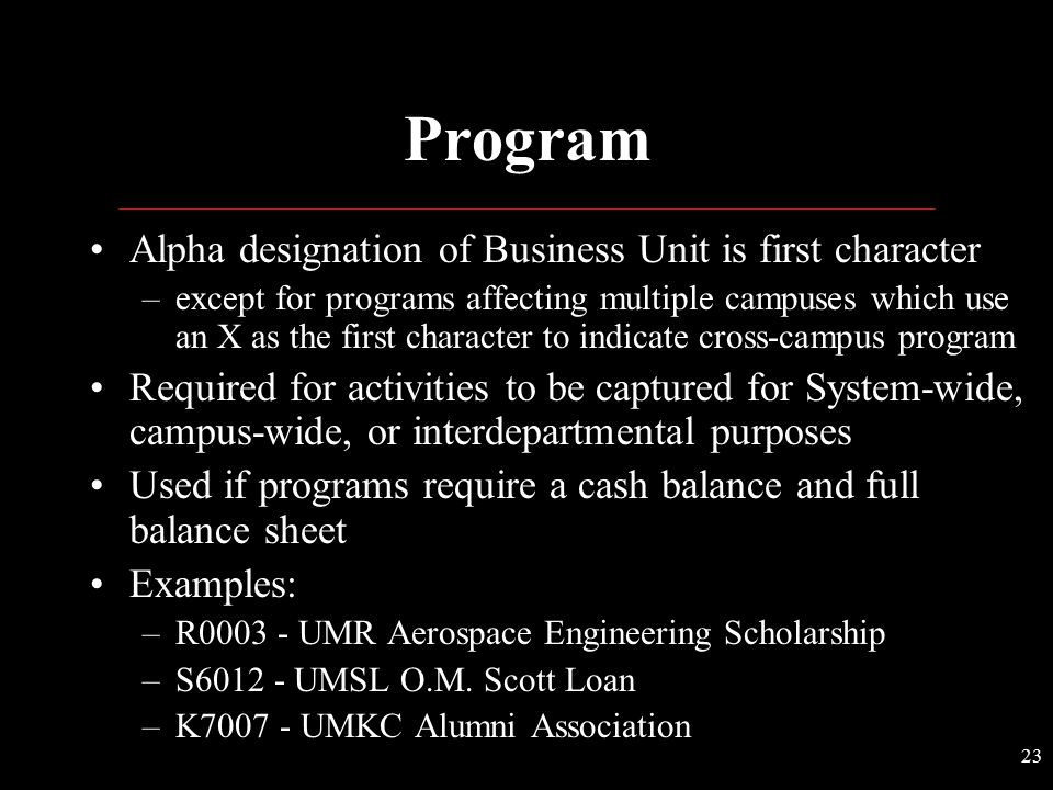 Program Alpha designation of Business Unit is first character