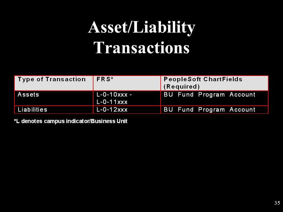 Asset/Liability Transactions
