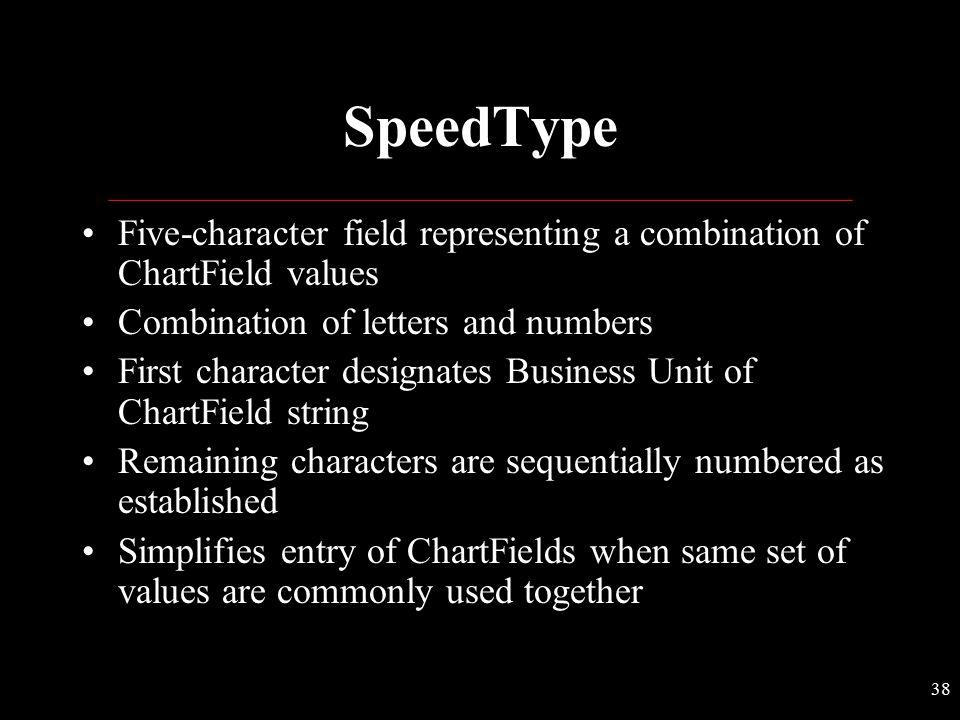 SpeedType Five-character field representing a combination of ChartField values. Combination of letters and numbers.