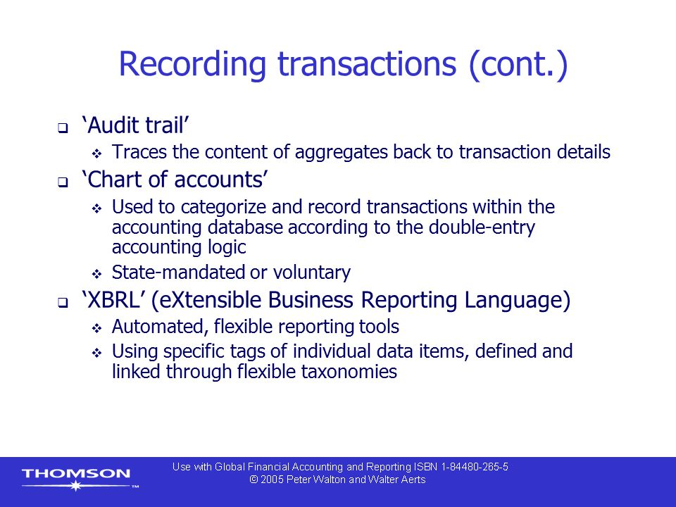 Recording transactions (cont.)