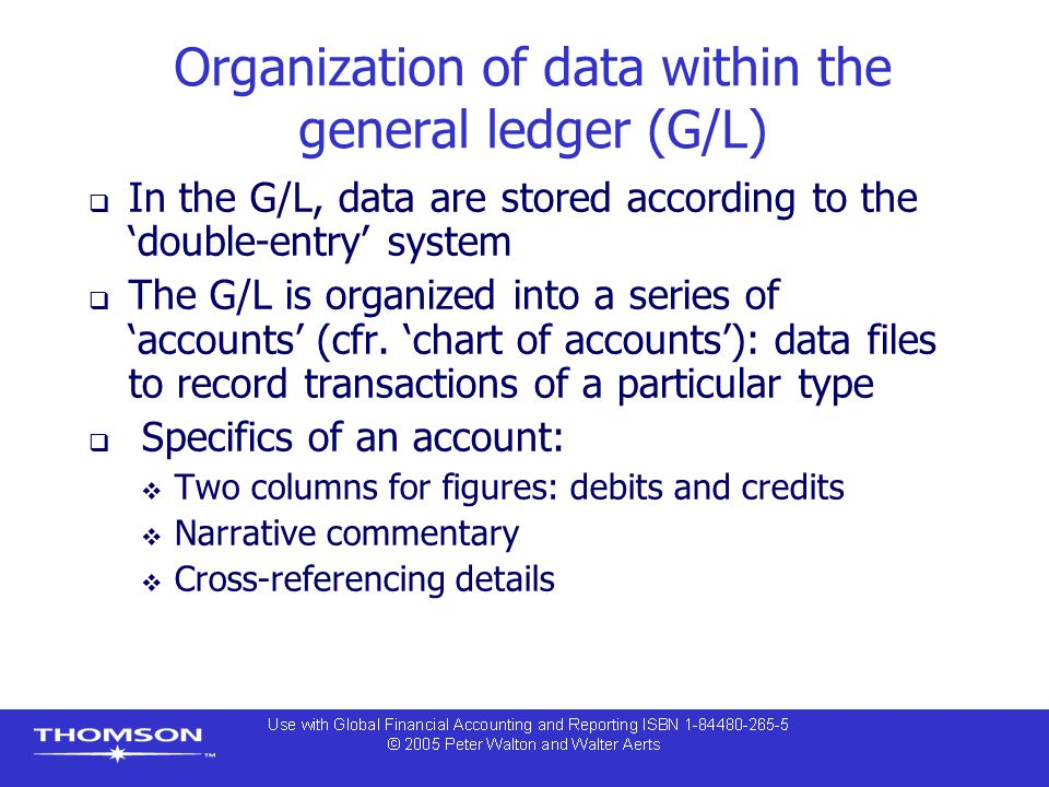 Organization of data within the general ledger (G/L)