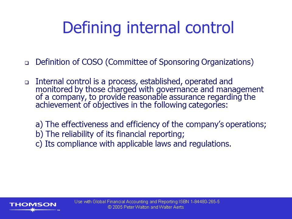 Defining internal control