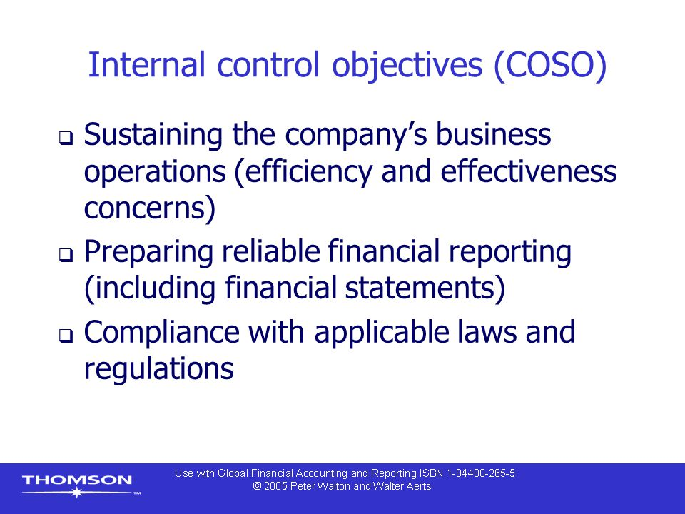Internal control objectives (COSO)