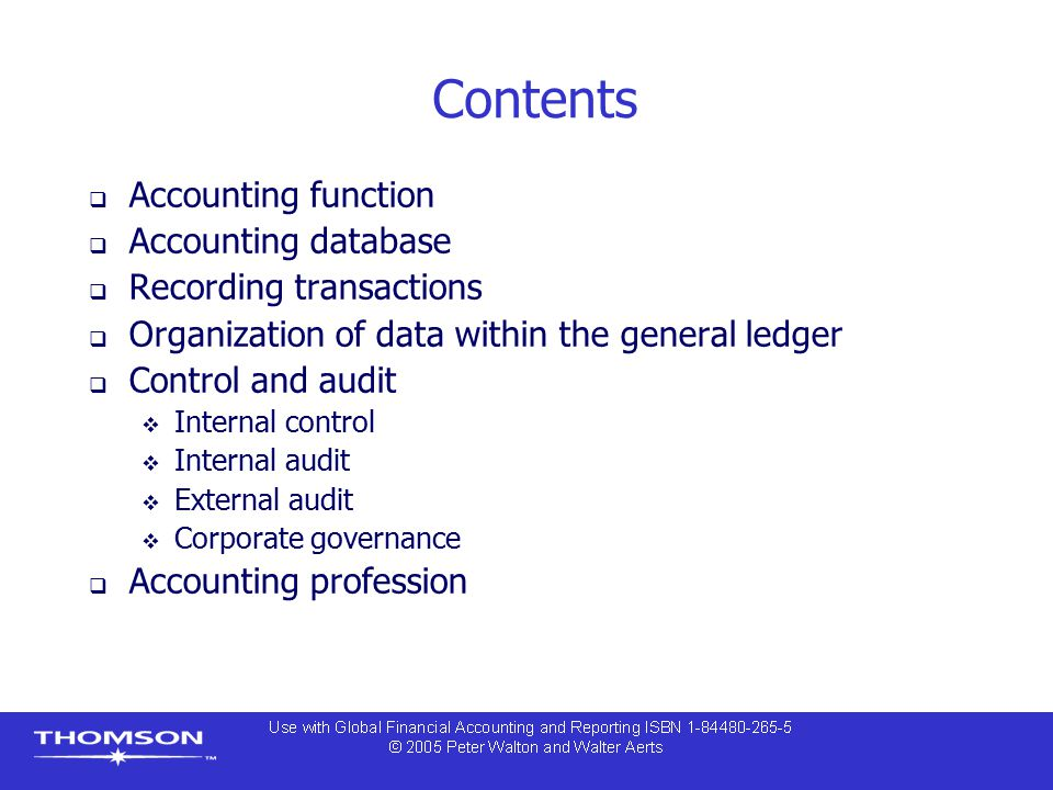 Contents Accounting function Accounting database