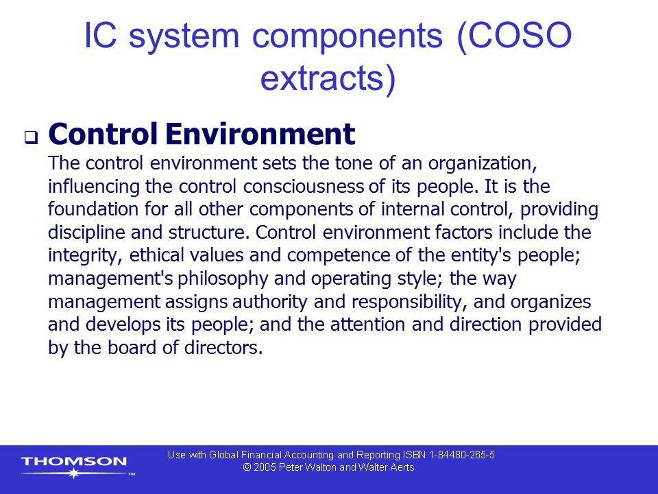 IC system components (COSO extracts)
