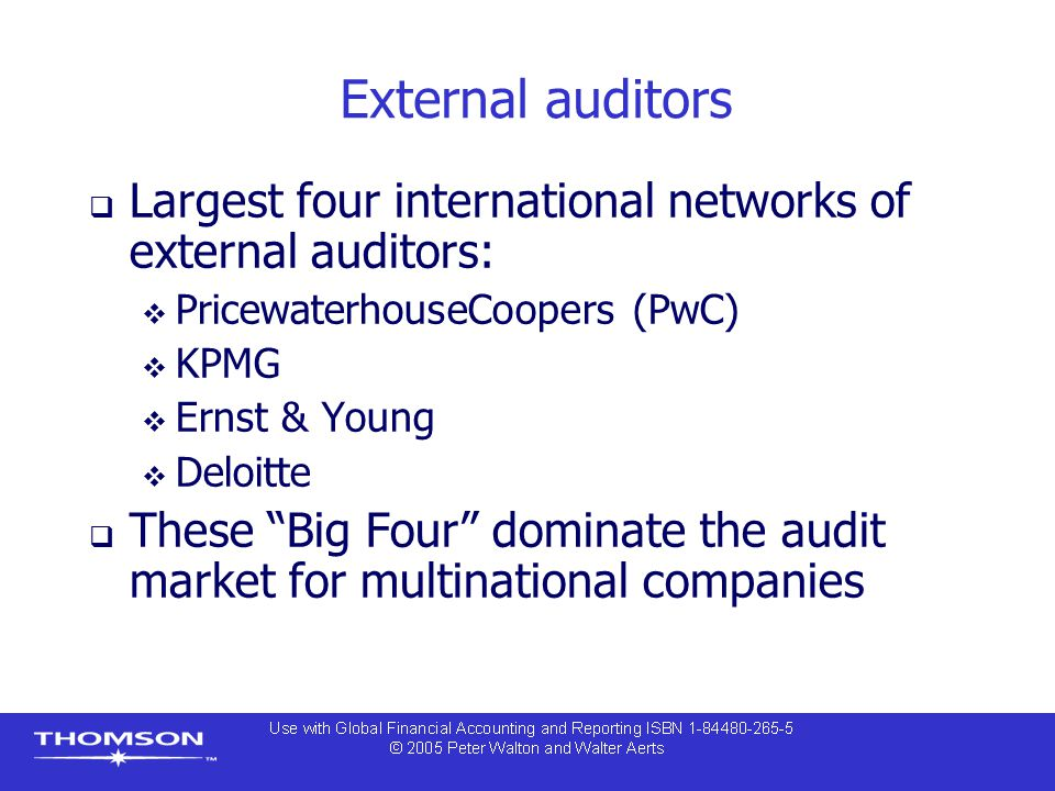 External auditors Largest four international networks of external auditors: PricewaterhouseCoopers (PwC)