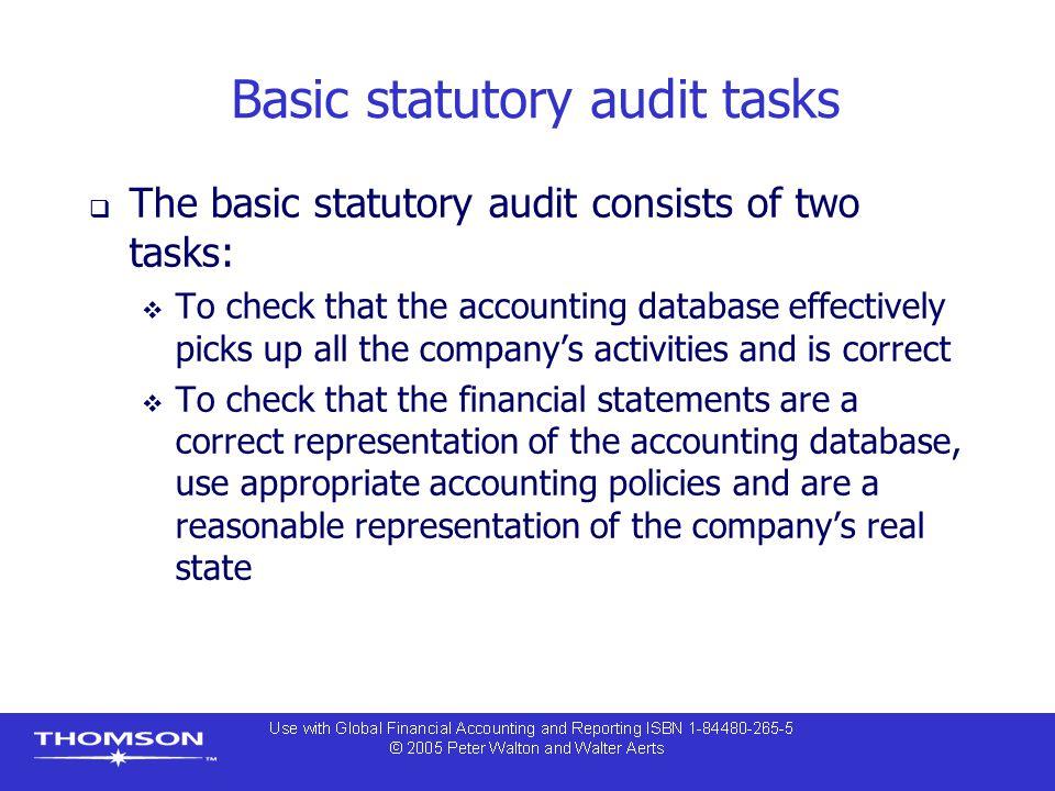 Basic statutory audit tasks