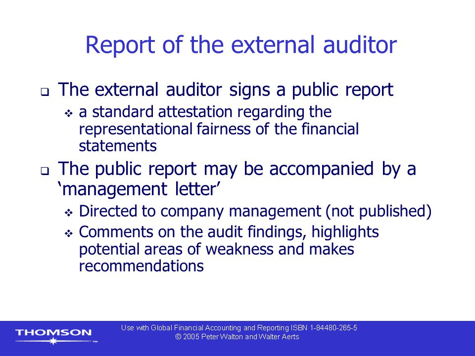 Report of the external auditor