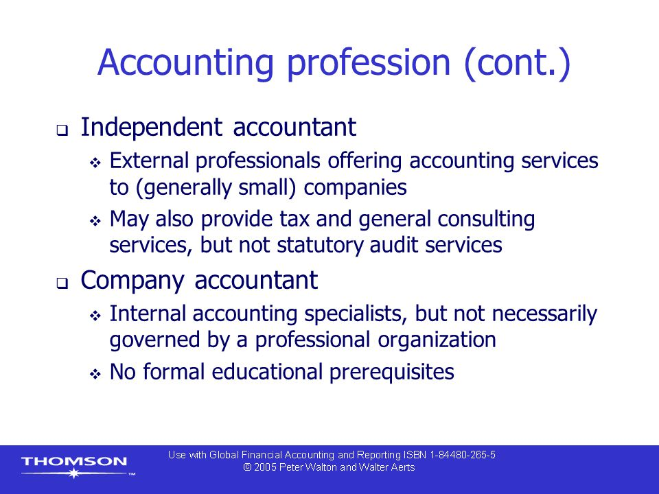 Accounting profession (cont.)