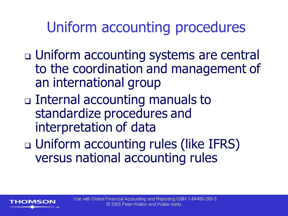 Uniform accounting procedures