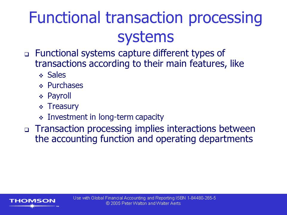 Functional transaction processing systems