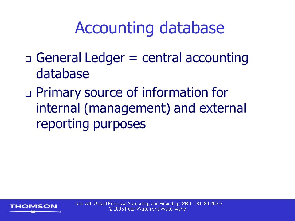 Accounting database General Ledger = central accounting database