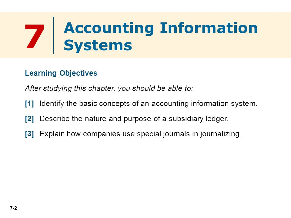 7 Accounting Information Systems Learning Objectives