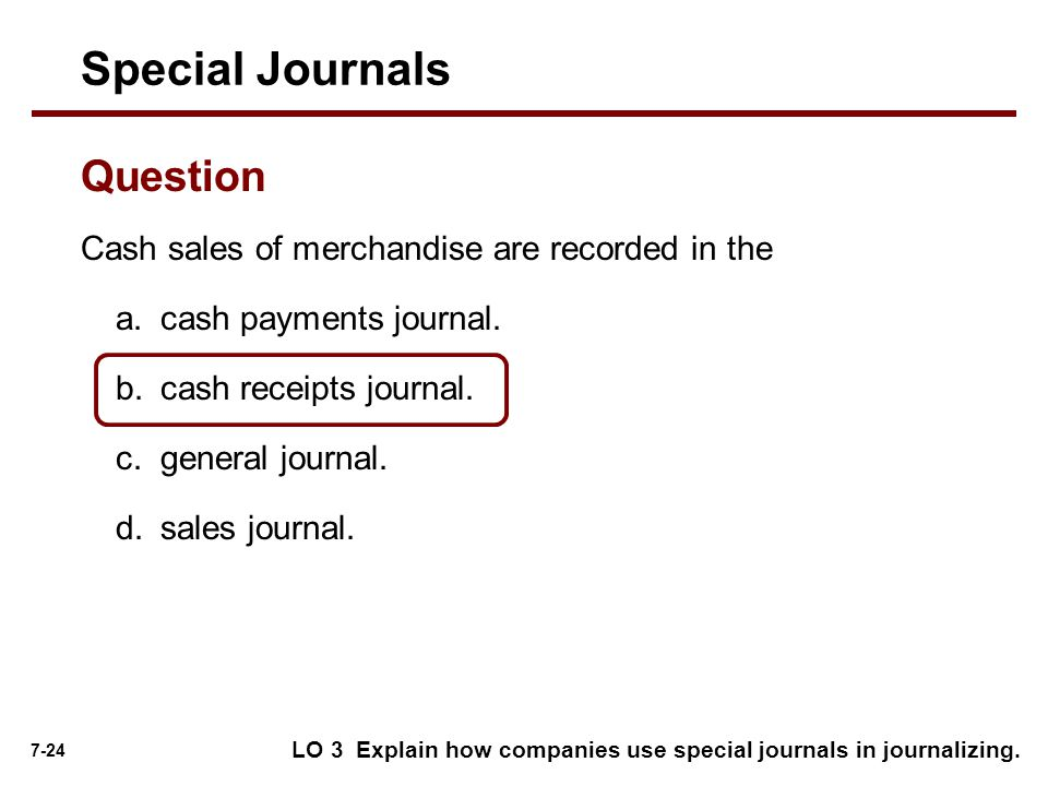 Special Journals Question