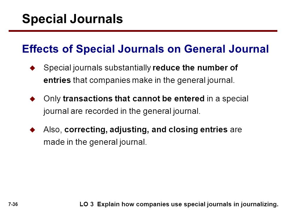 Special Journals Effects of Special Journals on General Journal