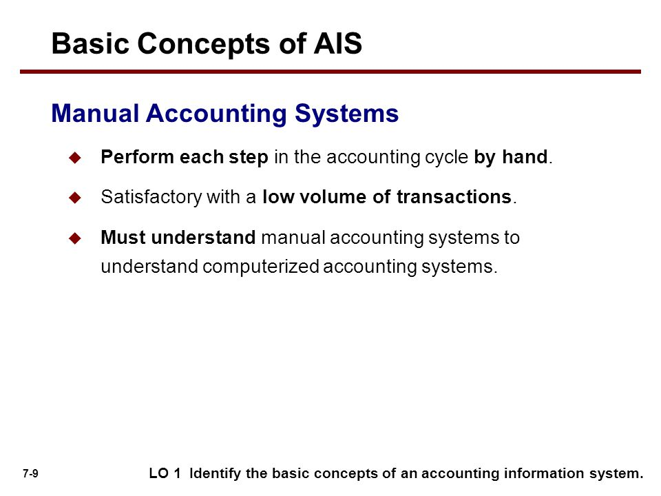 Basic Concepts of AIS Manual Accounting Systems