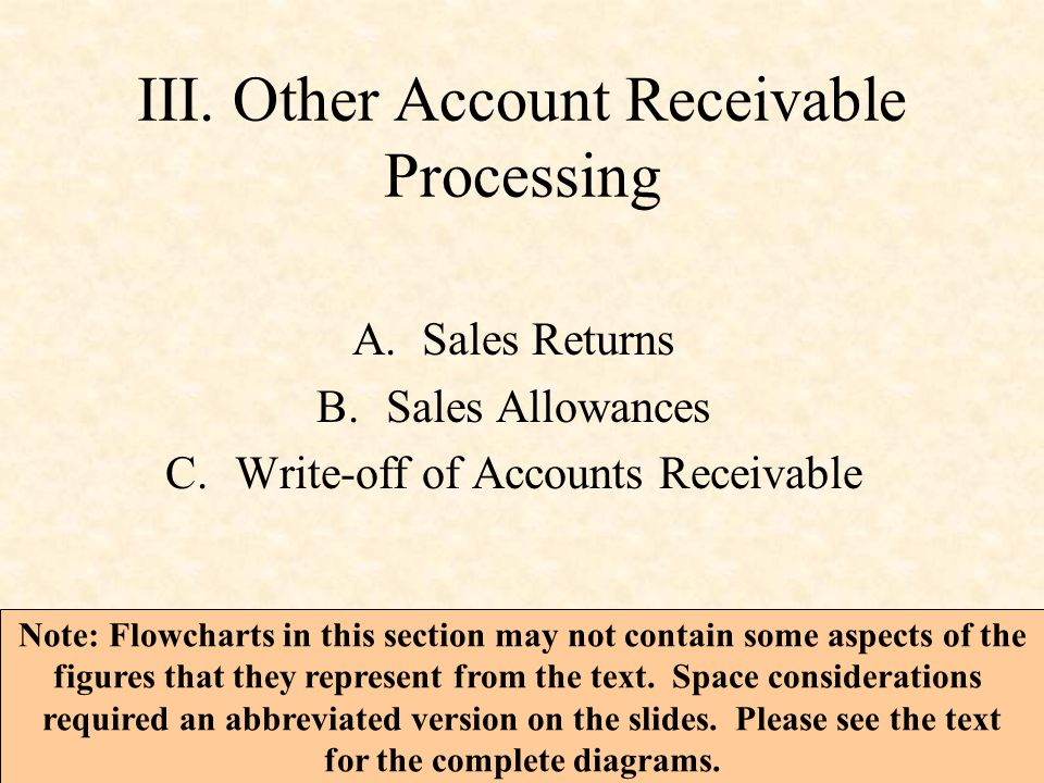 III. Other Account Receivable Processing