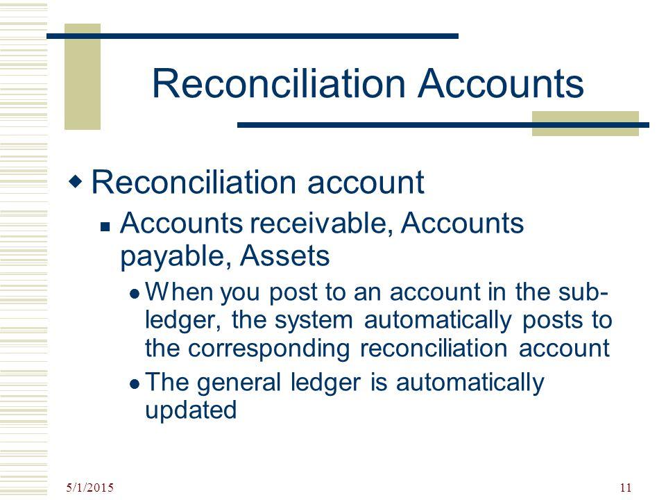 Reconciliation Accounts
