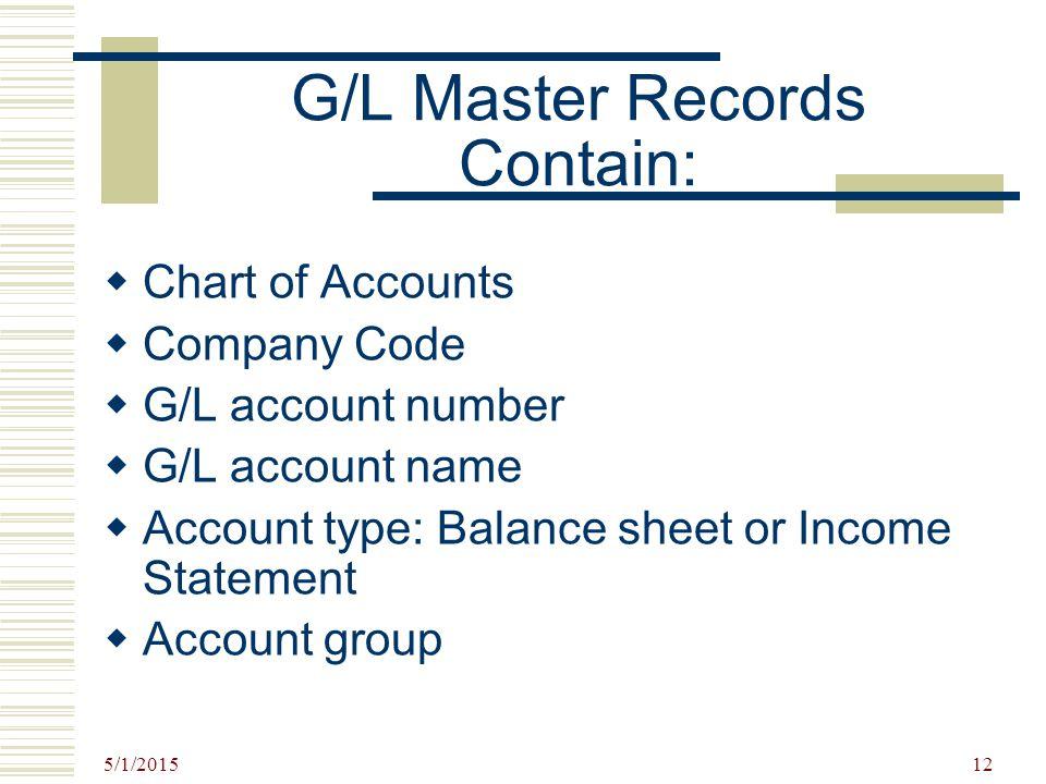 G/L Master Records Contain: