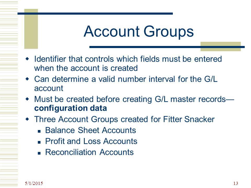 Account Groups Identifier that controls which fields must be entered when the account is created.