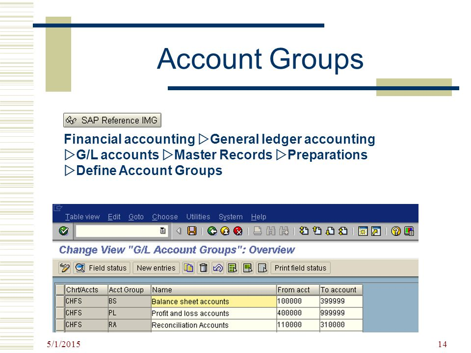 Account Groups Financial accounting General ledger accounting