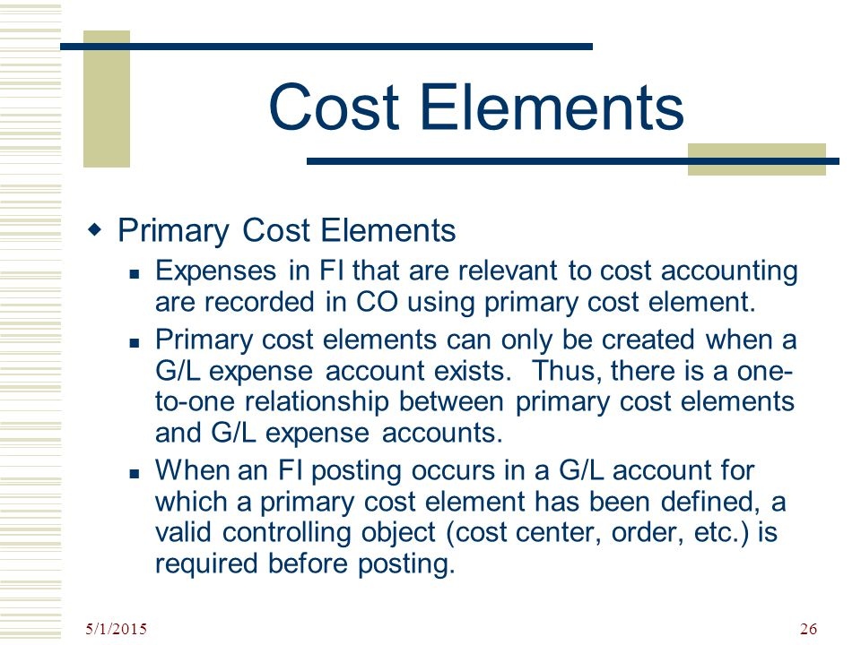 Cost Elements Primary Cost Elements