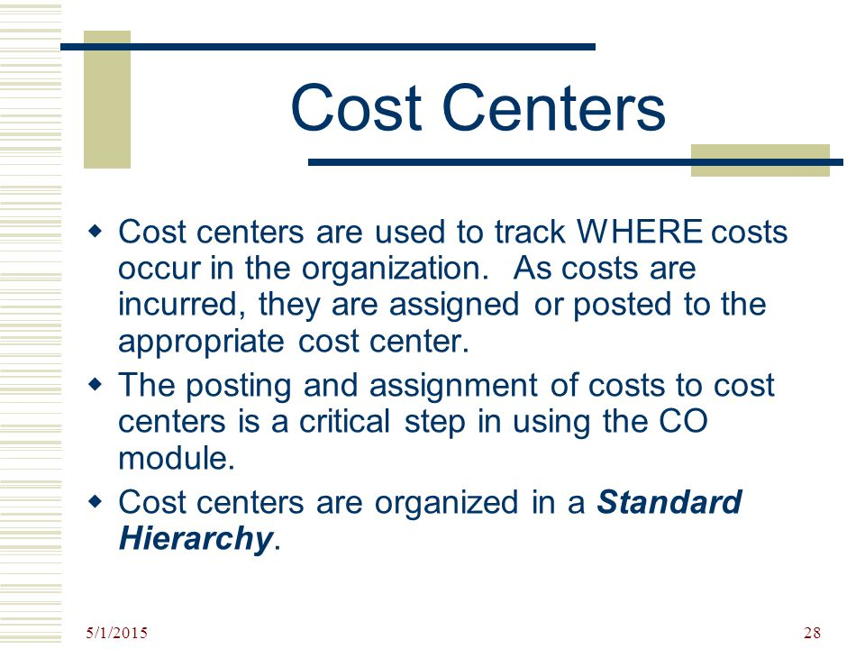 Cost Centers