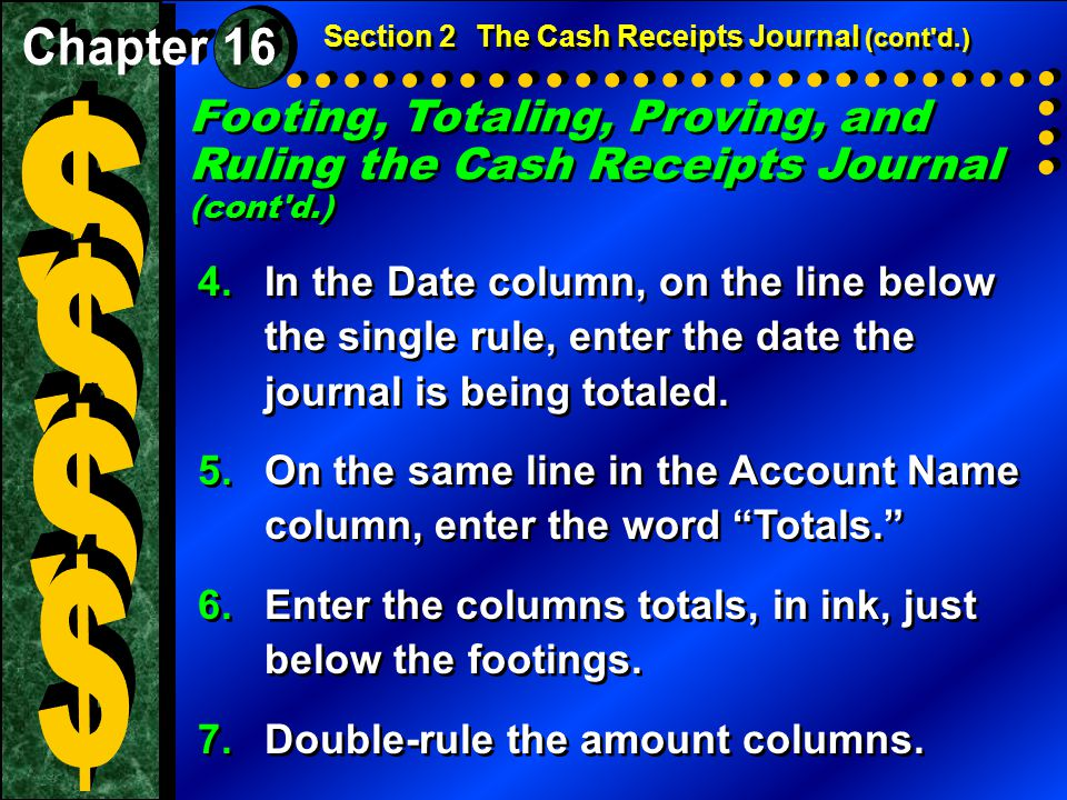 Section 2 The Cash Receipts Journal (cont d.)