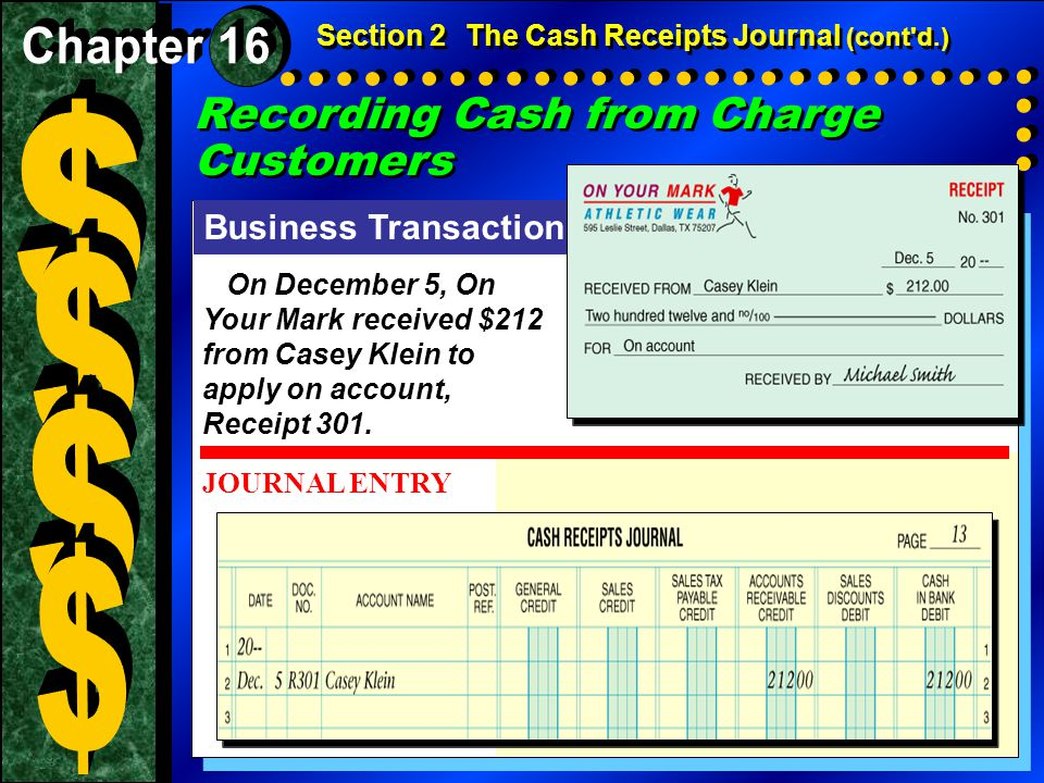 $ $ $ $ Recording Cash from Charge Customers Chapter 16