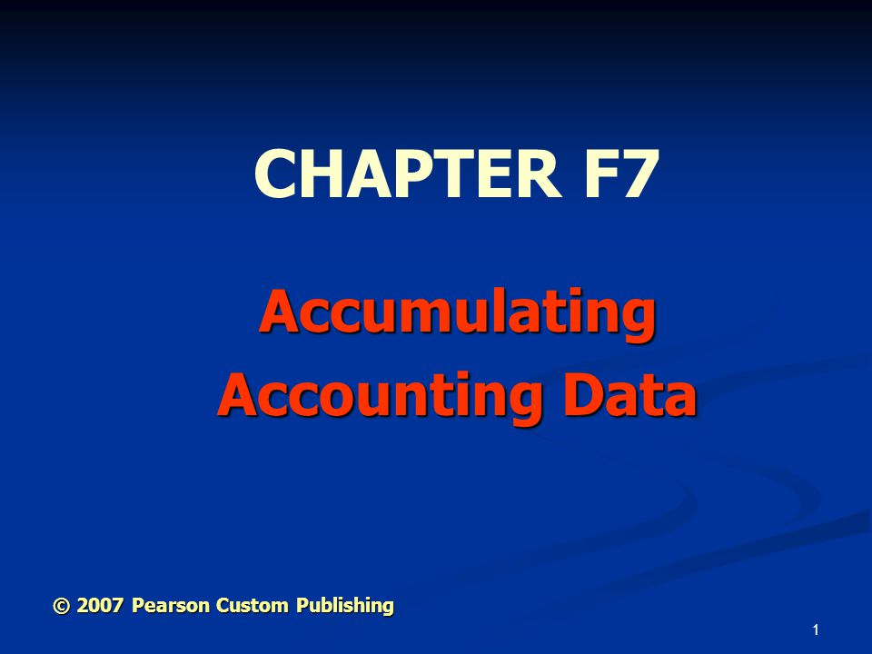 Accumulating Accounting Data