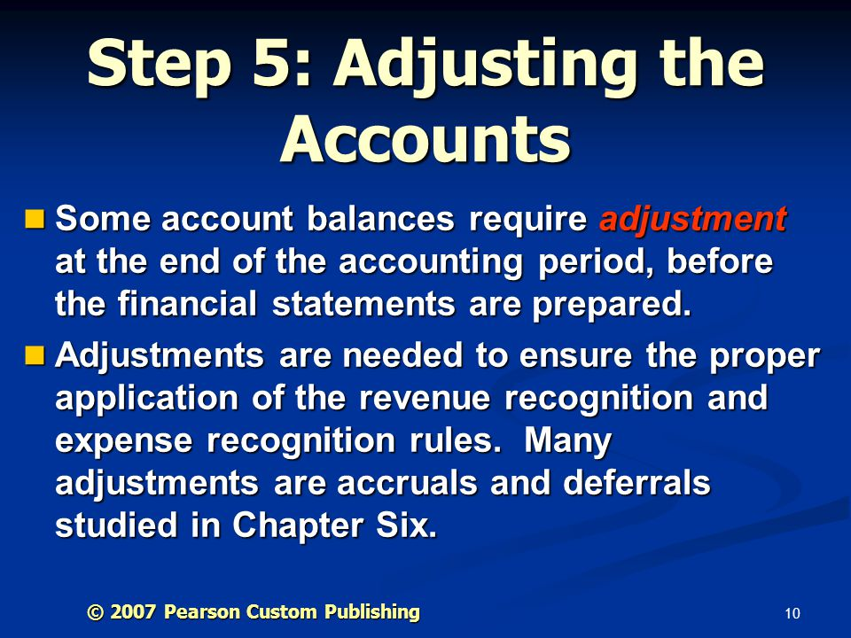 Step 5: Adjusting the Accounts