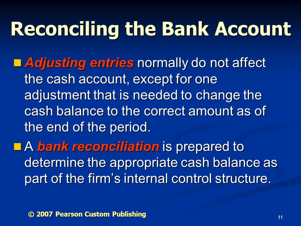 Reconciling the Bank Account