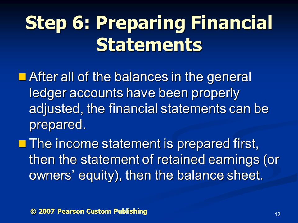 Step 6: Preparing Financial Statements
