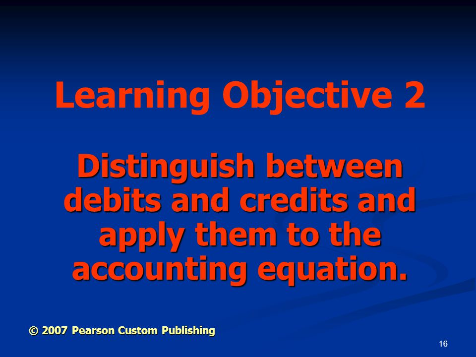 Learning Objective 2 Distinguish between debits and credits and apply them to the accounting equation.