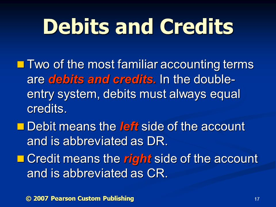 Debits and Credits Two of the most familiar accounting terms are debits and credits. In the double-entry system, debits must always equal credits.